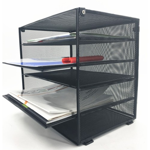 Amazon popular powder coated free sample school office supply detachable 5 layer metal mesh wire desktop file tray