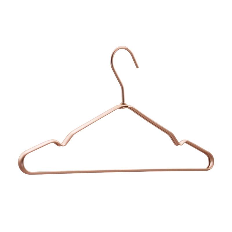 Hot Selling Rose Gold Velvet Flocked with Non-slip Design Metal Sweater Cloth Hanger