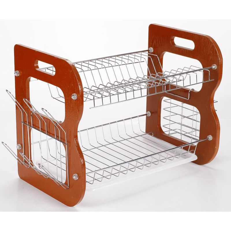 High Quality wholesale Eco-friendly wooden foldable metal wire 2 tier dish drying rack for kitchen