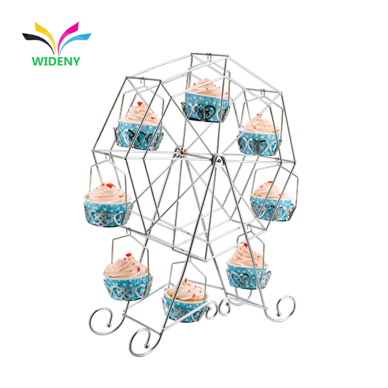 birthday party banquet decorating rotating wedding cake stand metal wire display cup ferris wheel cupcake stand