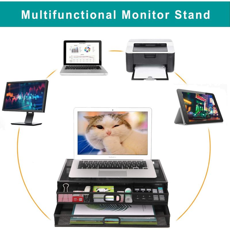 Home Office Multi-functional Ergonomic Metal Mesh Desk Computer Monitor Stand with Organizer Drawer for Laptop Printer Notebook