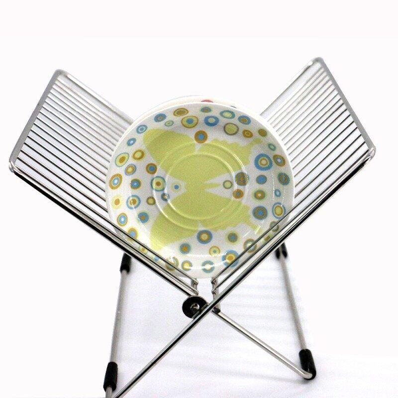 Custom Home Storage Foldable 2 Tier Metal Stainless Steel Ecofriendly Dish Rack