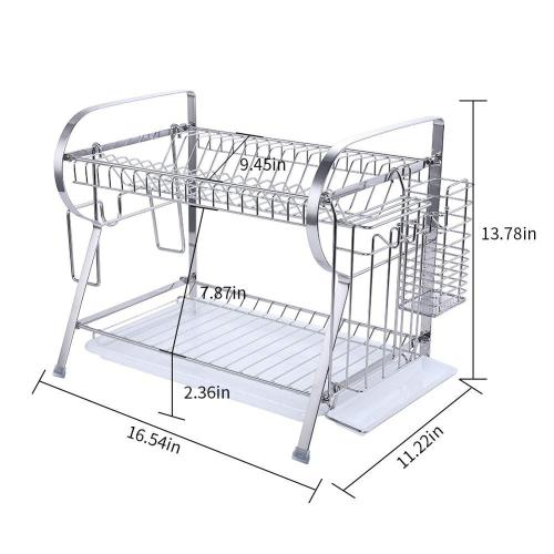 Wideny Home kichen different sizes collapsible 2 tiers dish rack with drain tray