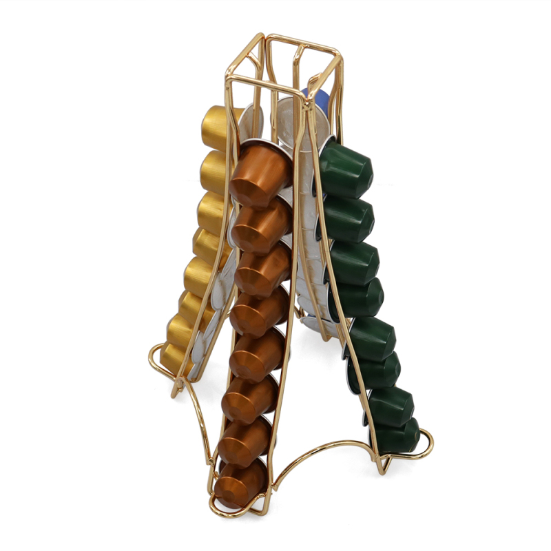 Wholesale Customize Hot Selling Unit Standing Tower Type Golden Metal Coffee Capsule Holder For 40 Pods About 37MM