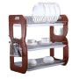 Hot selling metal wooden kichen organizer 3 tiers dish rack with arched double tray