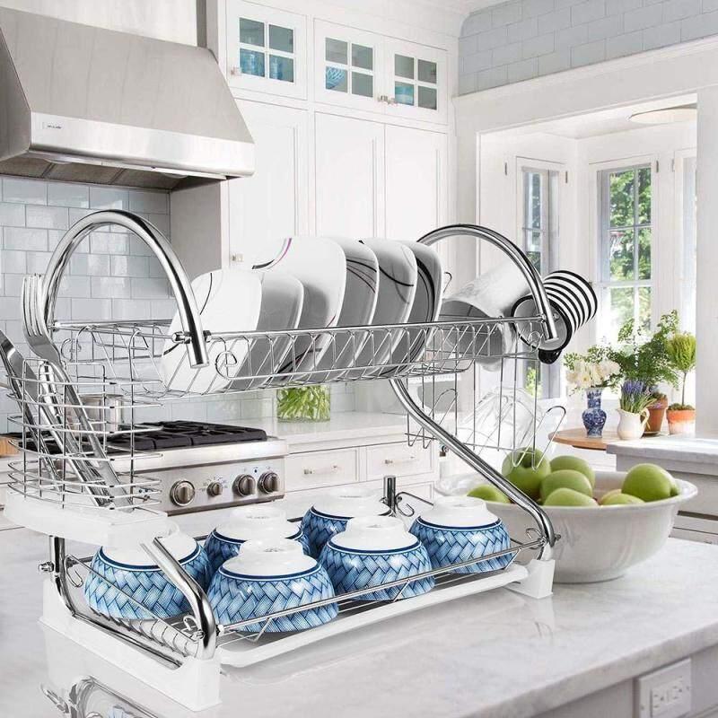 Large Capacity Tool 2 Layers Cutlery Rack Metal Iron Steel Dish Drain Drying Rack with Cutting Board Bracket