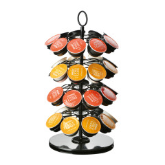 Wideny Supplier Hot-Sale Rotating Carousel 36 Pods K-cup Iron Wire Metal Desktop Foldable Revolving Coffee Capsule Holder