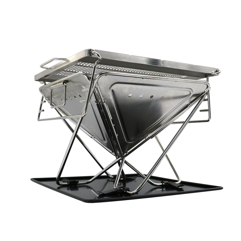 Wholesale Garden Outdoor Portable portable Folding 100% Stainless Steel Barbecue Grill For baking fish and meat