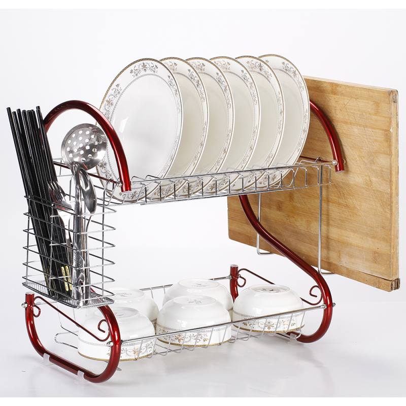 Home kitchen folding 2 tier tableware metal dish holder drying dish rack with tray
