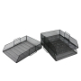 Wideny 2 tiers Stackable Wire metal Mesh Desktop Folding Letter Document Tray Organizer for office and home