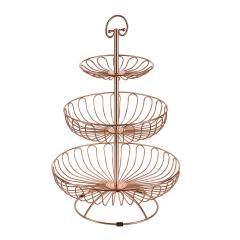 Wideny Home wire metal Desk Desktop foldable kitchen 3 tier folding fruit basket
