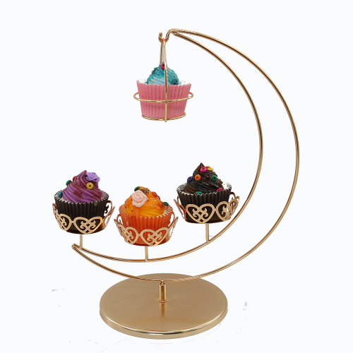 Popping Moon Like Appearance Golden Metal Detachable Wedding Cake Stand For Four Mini Cupcake