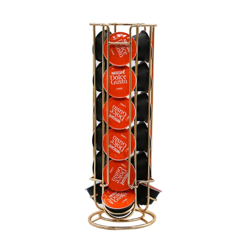 2020 New design rotatable gold plate rotating metal drawer coffee capsule holder for home use