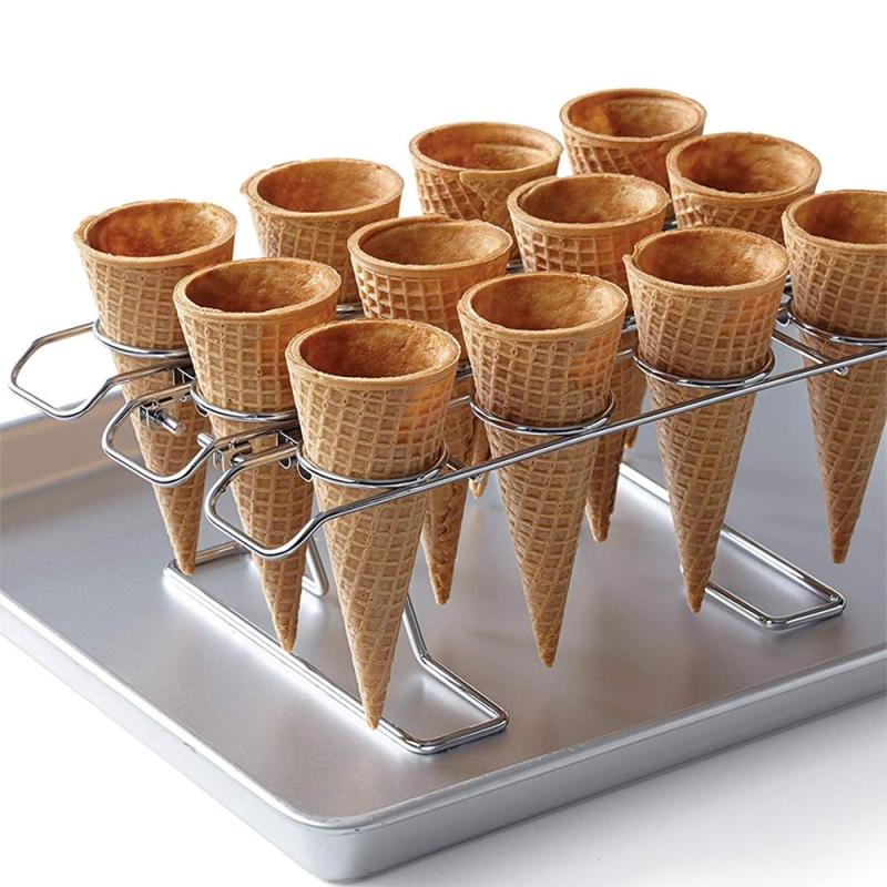 WIDENY wholesale store table top sliver chrome plate metal wire mini 16-Cavity Ice Cream Cone Holder for kids