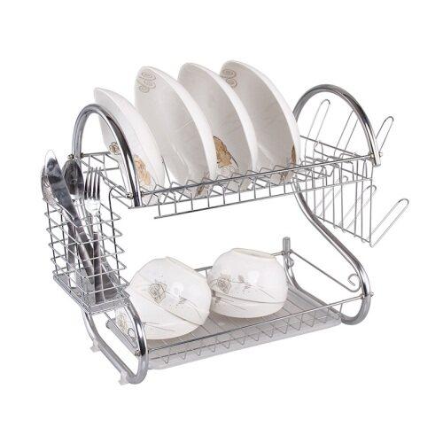 custom design white metal wire kitchen cabinet Two Tier Draining Rack Rustless Storage Rack bowl dish rack with Chopstick Holder