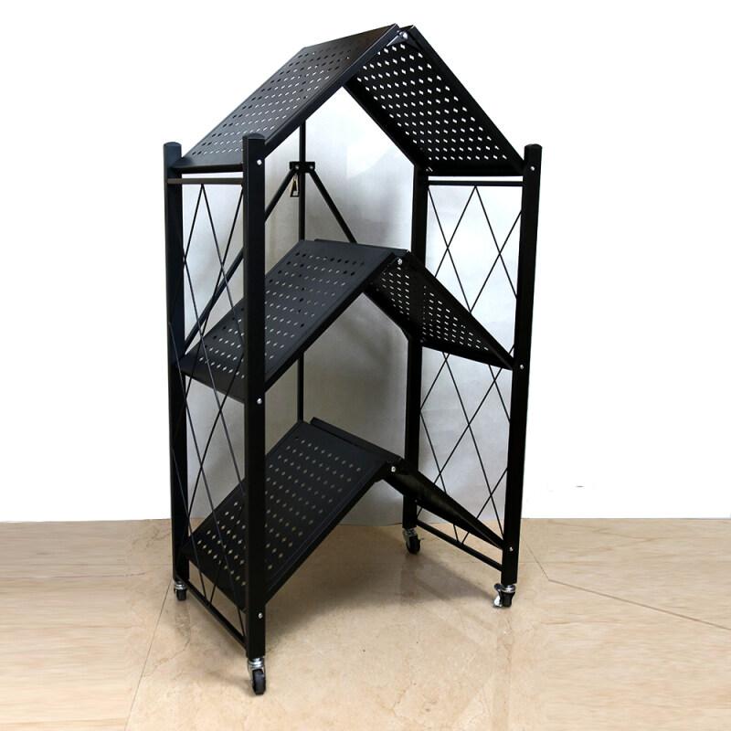 Wholesale Supply Home Black iron Metal Wire 3 Tiers Folding Kitchen Corner Storage Shelf For Storage Kitchenware