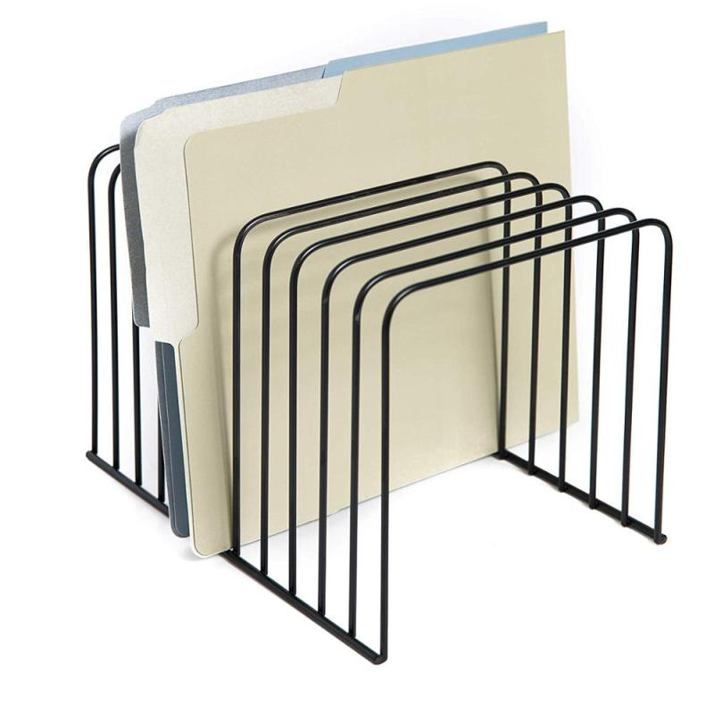 Office and home wire metal Silver Collection Multi Step desk desktop magazine holder mesh hanging wall mounted File Organizer