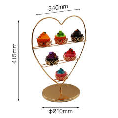 Wholesale 3 tiers Like Appearance Individual Rose Gold Metal Wire Detachable Holding 6 Mini Cake Cupcake Stand