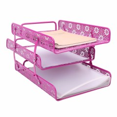 Wideny hollow pattern 3 Tier Stackable Desk Document Letter Organizer file Trays