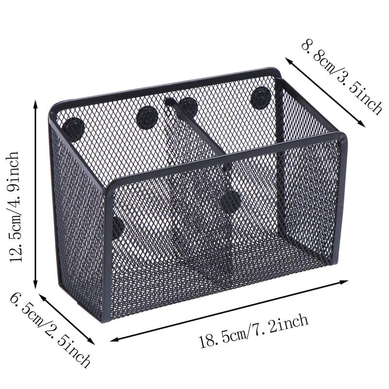 WIDENY Wholesale Small Metal Mesh Fridge Whiteboard 9 Magnetic Pencil Pen Holder For Office Storage