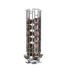 Wideny European Rotating Capsule Rack Silver Chrom Plate Dolce Gusto Coffee Capsule Holder For Coffee Pod Storage