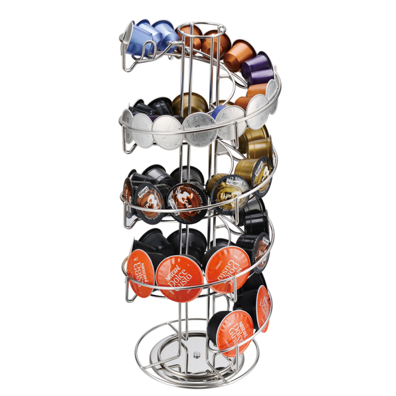 Wholesale custom kitchen silver Iron rotating coffee cup capsule holder with 40pcs