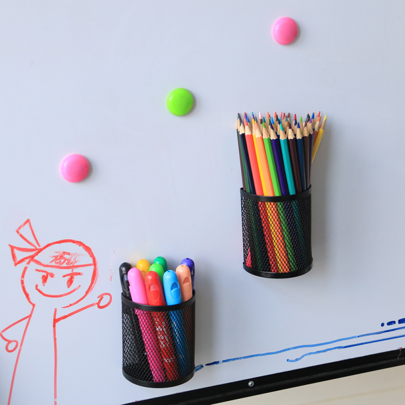 Office Supplies Desktop Storage Hanging Wire Mesh Metal Whiteboard Magnetic Pen Pencil Holder for Fridge