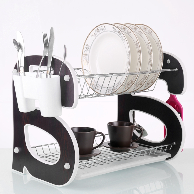 Kitchen Use Large Capacity Stainless Steel Wooden Colorful Foldable Dish Dryer Rack for Cup Bowl Organizer