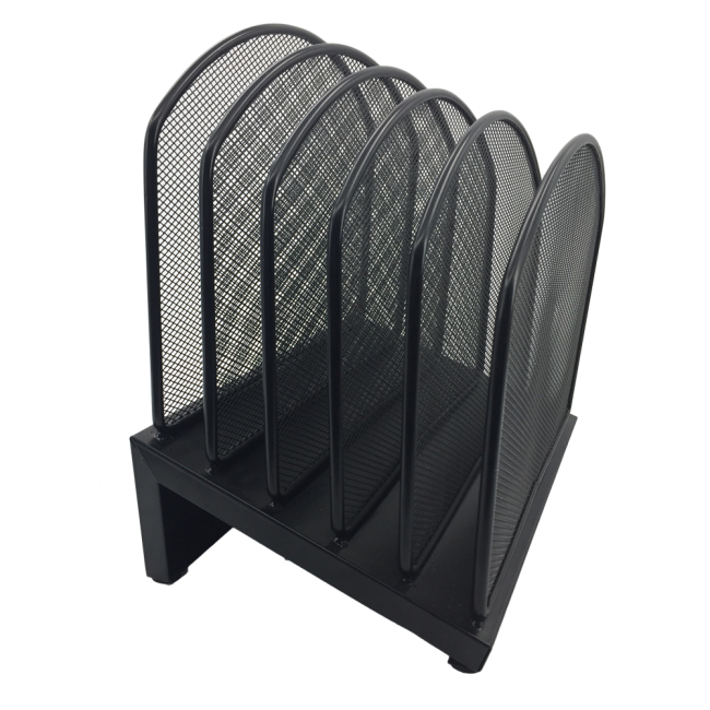 5 compartments desktop black mesh metal paper office magazine file holder