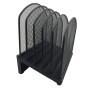 5 compartments desktop black mesh metal paper office magazine file holder
