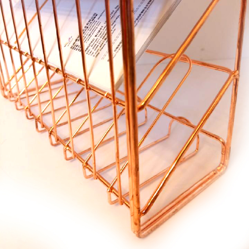 Hot Sale Kitchen or Office Tool Metal Wire File Rose Gold Mounted Hanging Wall file Organizer