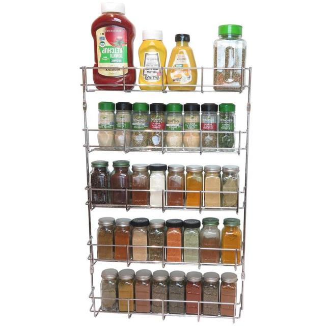 Kitchen cabinet storage metal steel wall mounted hanging wire spice rack organizer for herb jar holder shelf