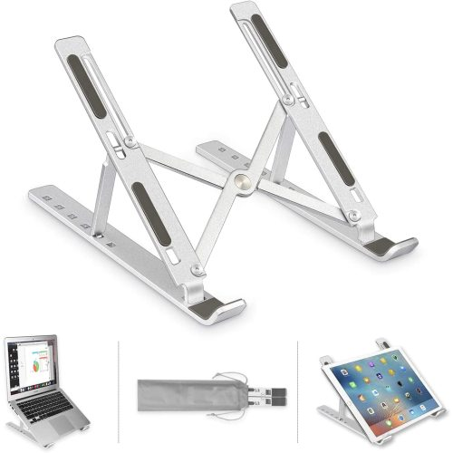 Wideny Home Office Ergonomic Aluminium Desktop Adjustable Portable Folding Multifunctional Laptop Table for Phone Desk Stand