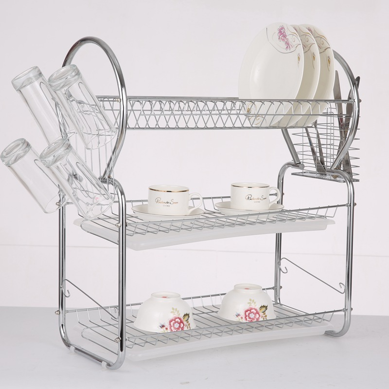Modern premium durable easy cleaning 3 tier Stainless Steel dish drying rack for home and kitchen dish
