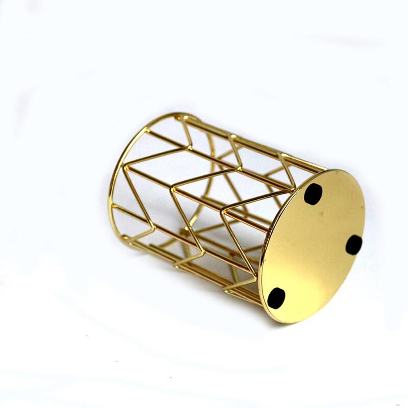 Wideny Office Stationery Pen Stand Holder New Design Desk Desktop Gold Round Metal Wire Pen Pencil Holder