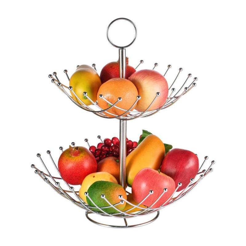 empty vegetables Storage metal portable fruit basket stand 2 tier stainless steel fruit basket