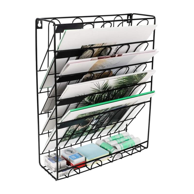 Home office hanging wall mounted wire black document file organizer for letter magazine literature sorter
