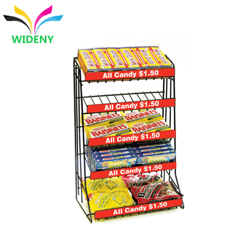 Supermarket apply chrome plated wire metal flooring snack food display rack