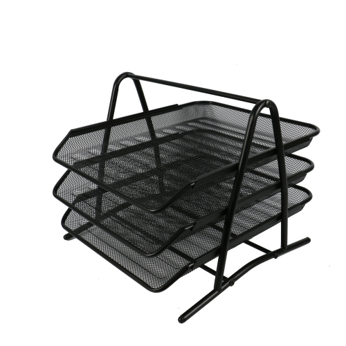Office 3 tier wire iron black mesh mounted document wall hanging metal paper file tray for amazon top selling