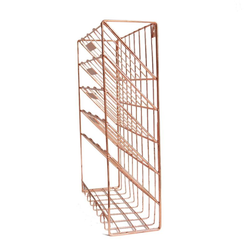 Wideny Office school home household storage rose gold metal wire wall mounted hanging file organizer