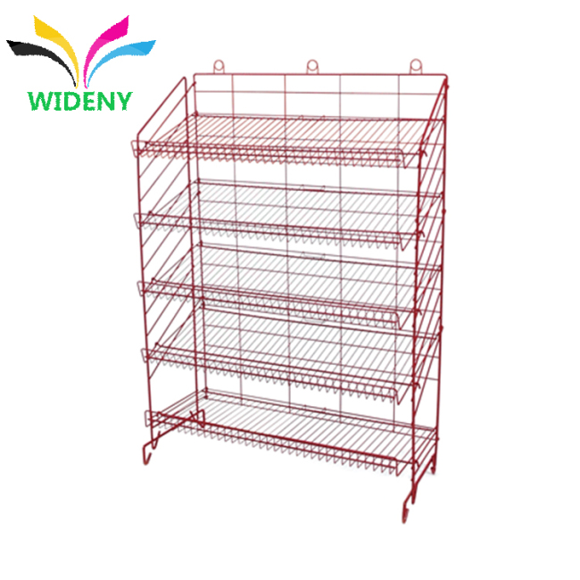 supermarket shelving wire Mesh Back Metal Steel display rack for tea tins craft spinner racks