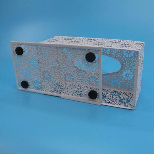 Wideny custom design logo package powder coated school home office supply metal mesh flower pattern tissue box