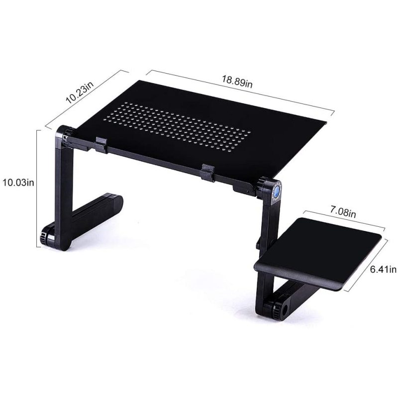 Home Portable Folding Adjustable Support  Notebook Computer And Bed Bracket Movable Desk Black Metal Laptop Stand