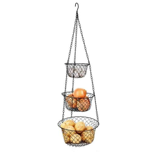 3 Tier Sturdy Metal Chain Hanging Hook and Detachable Round Nesting iron Wire Fruit Kitchen Vegetable Storage Hanging Basket