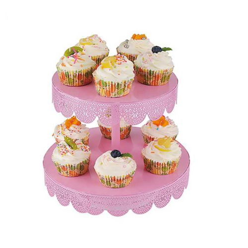 Made in China 2 Tier European mini pink metal crystal cupcake wedding decoration cake stand for wedding