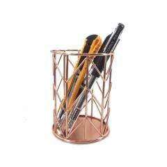 School office desk metal wire mesh rose gold pencil storage pen cup holder