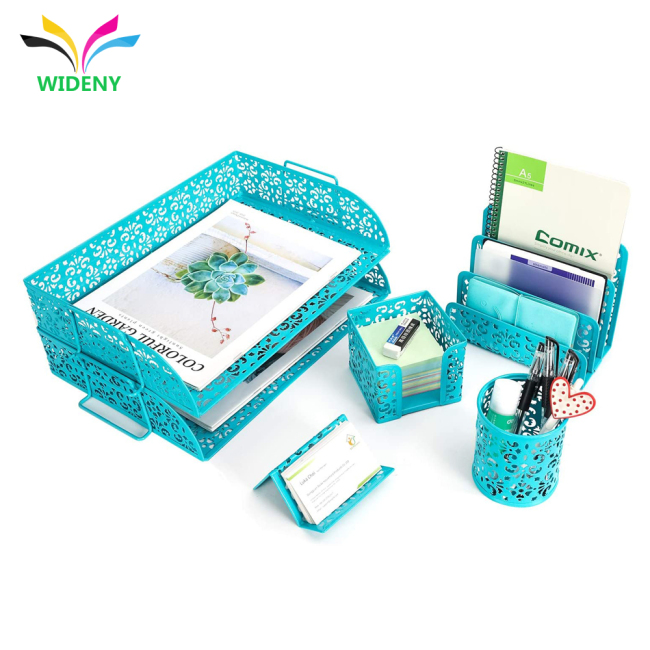 5 in 1 Desk Organizer Set  2 Tier Desk Tray Pen Holder Office Home use Powder Coated Office Stationary Set