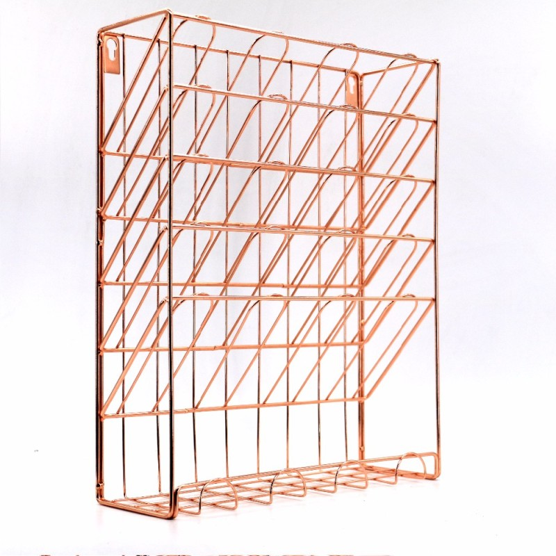 Fashionable wall mounted rose gold file holder magazine storage holder  desk file organizer