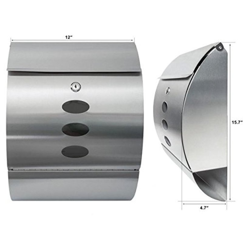 Home use stainless steel wall mounted security mailbox with newspaper holder for outdoor garden