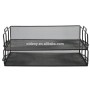 2-Tier Metal Stationery Desktop Office School Supplies mesh Desk Organizer File Tray